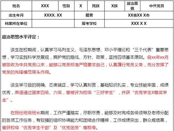 雷火电竞网站政审表模板